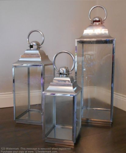Polished Stainless Steel Lanterns Set Of 3 (Sloped Top)